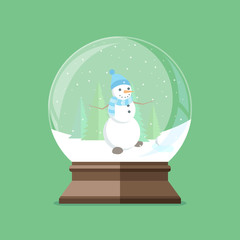 Christmas snow globe with snowman inside. Flat vector illustrati
