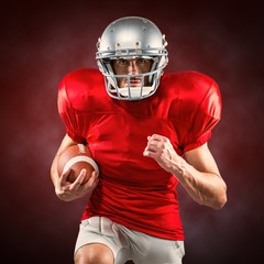 Composite image of american football player running