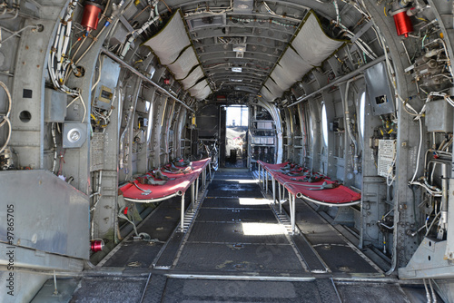 The Inside Of An American Transport Helicopter