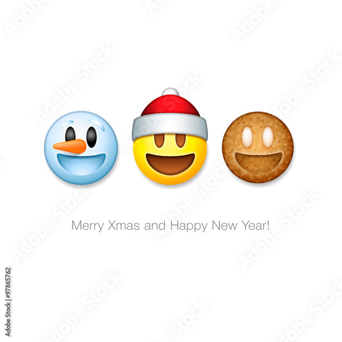 Christmas Emoji.Holiday Emoticon Set Icons Christmas Emoji Symbol Stock