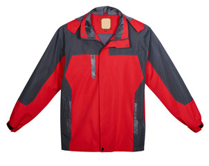 Red men's jacket outdoors. Isolated on white background