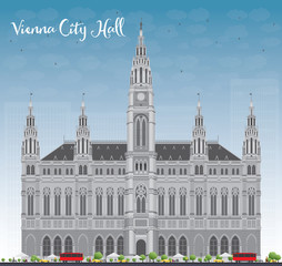 Vienna City Hall in gray color with blue sky. Some elements have transparency mode different from normal.