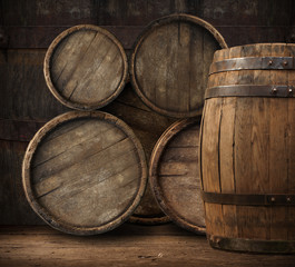 background of barrel and worn old table  wood