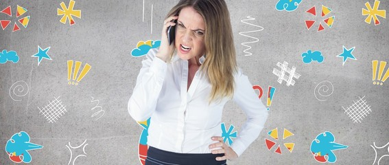 Composite image of angry businesswoman talking on mobile phone
