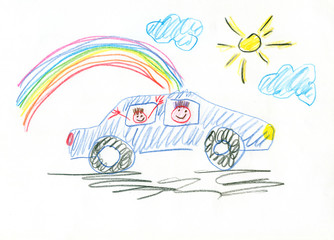 Drawing made by a child, buying new car ecological