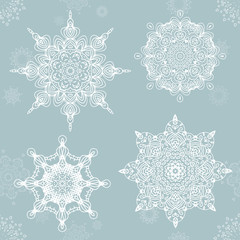 Abstract snowflake. Vector Mandala for christmas. Graphic template for your design.