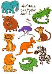 Set Of Cartoon Wild Animals.