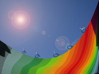 handicap vita/ immagine realizzata al computer che rappresenta la voglia di farcela nonostante l'handicap, nonostante la vita sia in salita