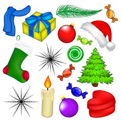 Christmas vector symbol set, icon  design. Winter illustration isolated on white background.