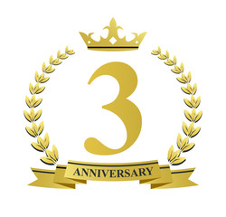 3 anniversary with golden wreath, ribbon and crown