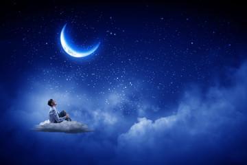 Businessman in night sky
