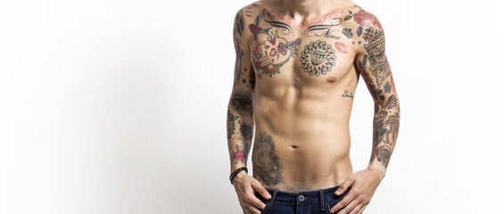 Handsome and sexy tattooed man portrait letterbox