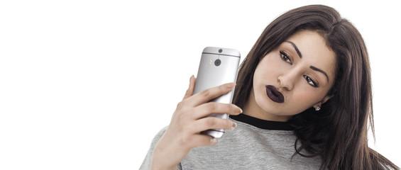 Woman portrait taking selfie letterbox