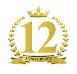 12 anniversary with golden wreath, ribbon and crown