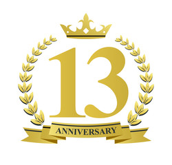 13 anniversary with golden wreath, ribbon and crown