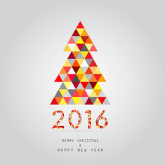 2016 christmas and happy new year card vector background