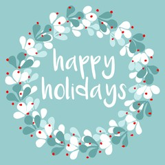 Happy Holidays pastel vector card with wreath