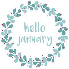 Hello january winter watercolor wreath vector card