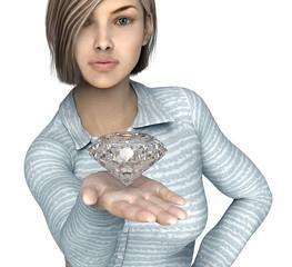 woman holding diamond isolated on white