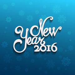 New Year message and blue background with snowflakes.