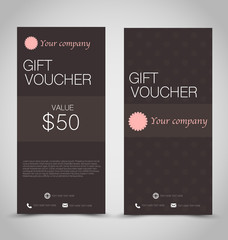 Gift card voucher. Business banner template. Brown color.