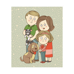 Vector illustration: happe family