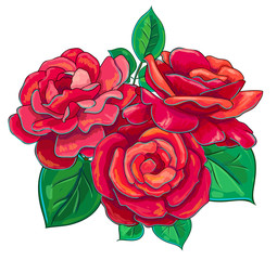 vector illustration with three red roses