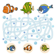 Maze game: fish family