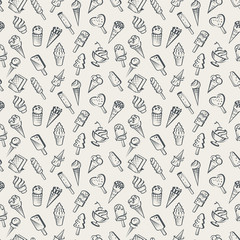 seamless background of various ice cream