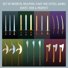 Set of medieval weapons for role-playing games / The set of bladed weapons in three states (rusty, new, perfect)
