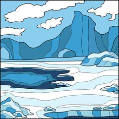 Vector illustration, winter background (Antarctica)