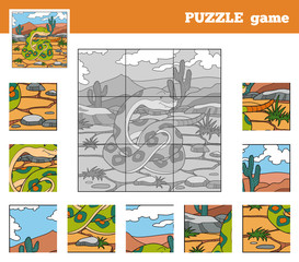 Puzzle Game for children with animals (snake)