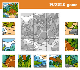 Puzzle Game for children with animals (turtle)