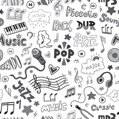 Vector seamless pattern of hand drawn doodles on a music theme.