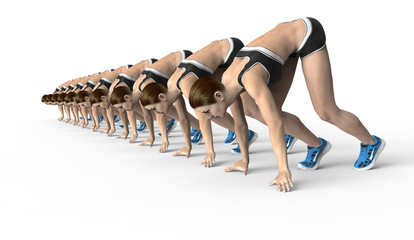 athletic women crouched starting position ready to start running