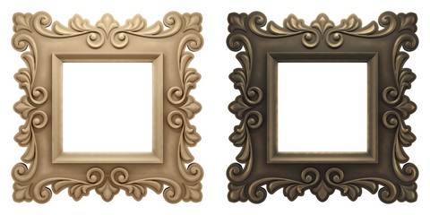 Vintage Artistic Picture Frames. Two old-fashioned empty picture frames isolated on white background. 3D rendered graphics.