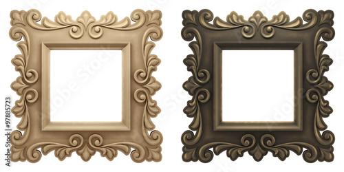 Vintage Artistic Picture Frames Two Old Fashioned Empty Picture