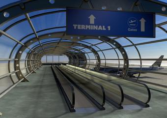 Aeroporto terminal, uscita imbarco aereo, viaggio, connessione alle uscite per l'imbarco