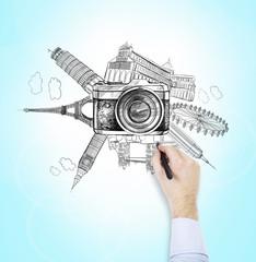 famous world landmarks, photo, drawing