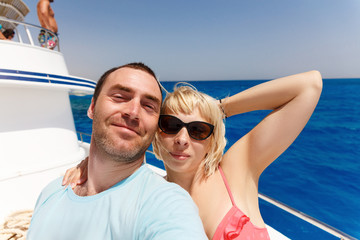 Cruise ship couple taking selfie