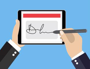 Digital signature on tablet