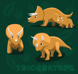 Dinosaur Triceratops Cartoon Vector Illustration