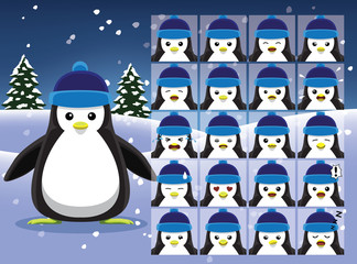 Christmas Penguin Cartoon Emotion faces Vector Illustration