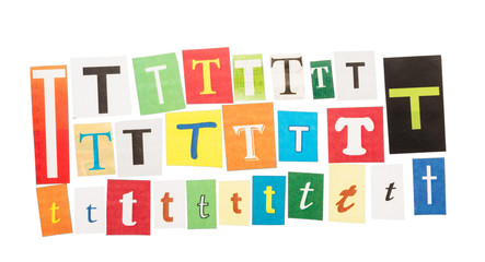 The set of letters T cut from Newspapers