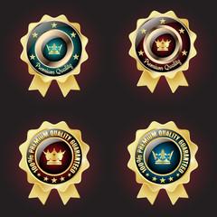 Set of Golden Premium Quality Badge with stars design