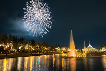 Fireworks in KING RAMA 9 with flower and fountain