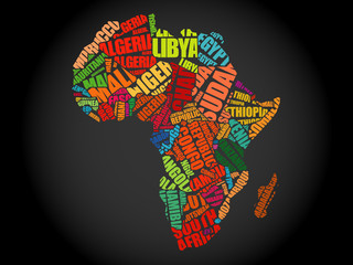 African countries Map in Typography word cloud concept
