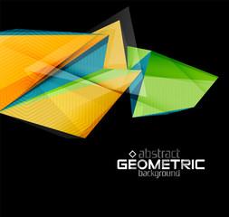 Textured paper geometric shapes on black