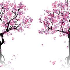 Colorful abstract blooming trees. Template with place for inscription. Spring background. Watercolor imitation. Vector, EPS 10.