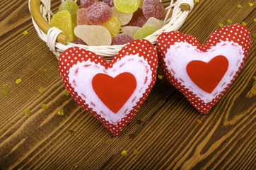 Red hearts and marmalade.